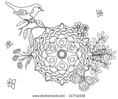 coloring page for adult bird butterfly spring mandala coloring pages adult coloring pages. Black Bedroom Furniture Sets. Home Design Ideas