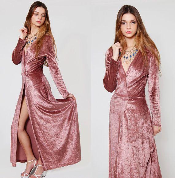 e8d9b3ba04358 Vintage 70s Velvet Maxi Dress Mauve Long Sleeve Glam Dress by LotusvintageNY