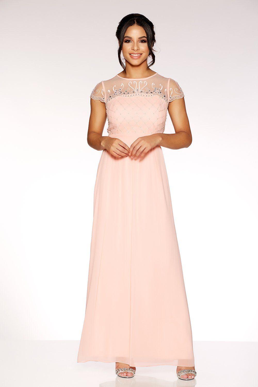 6eb1adb51f2b17 Peach Chiffon Embellished Bodice Maxi Dress in 2019 | Dresses ...