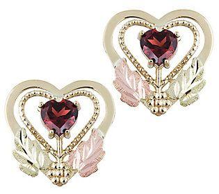 Black Hills Garnet Heart Stud Earrings 10k 12kgold In