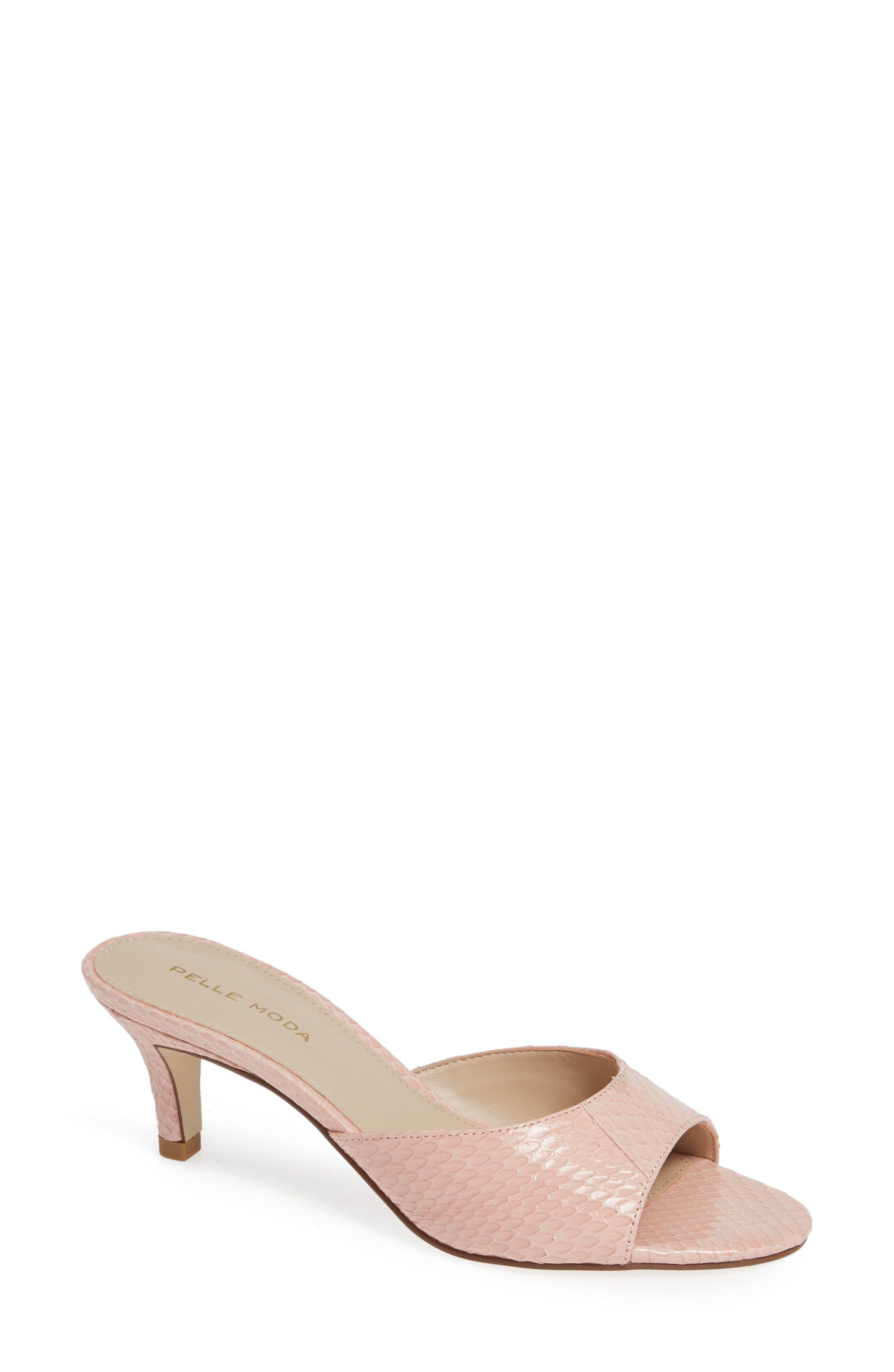 Women S Pelle Moda Bex Kitten Heel Slide Sandal Size 9 M Beige Kitten Heels Heels Slide Sandals