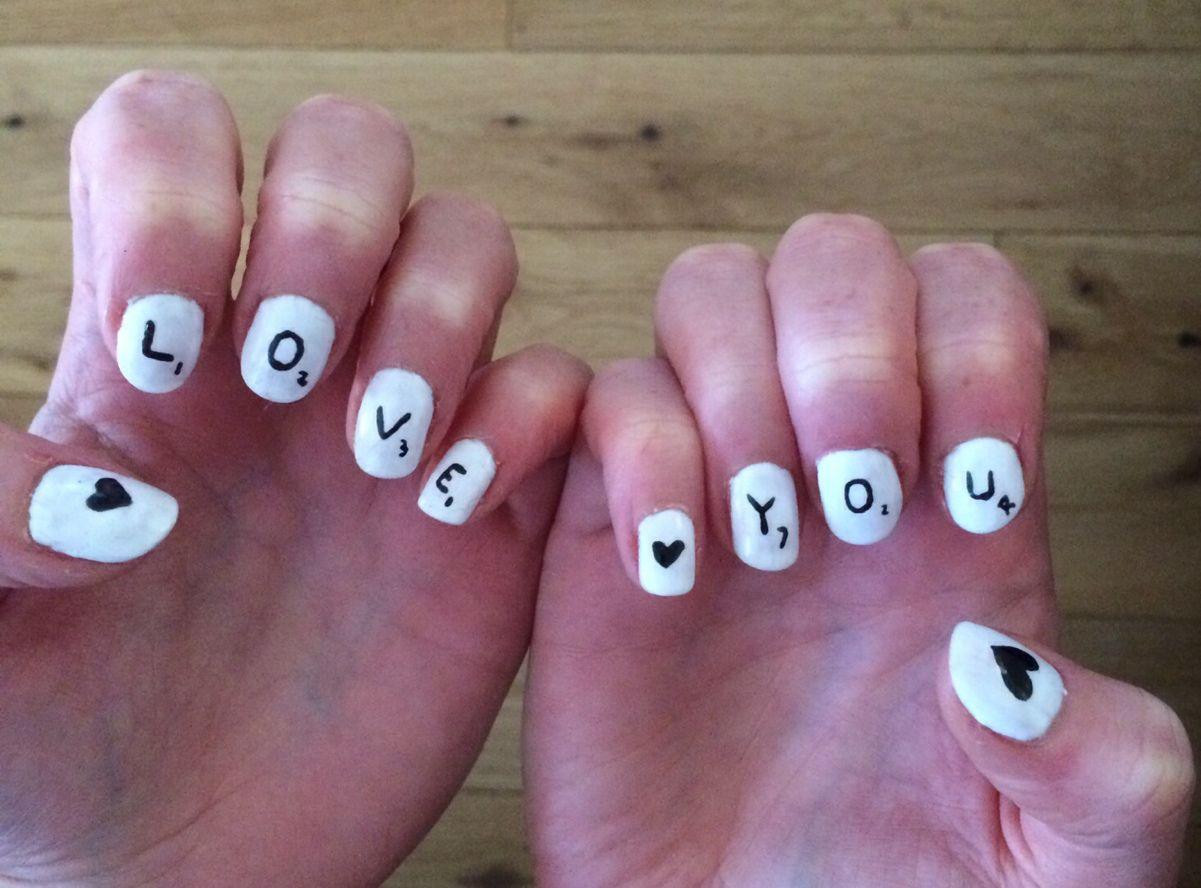 Love You Scrabble Nail Art Tutorial Nails Pinterest Art Tutorials