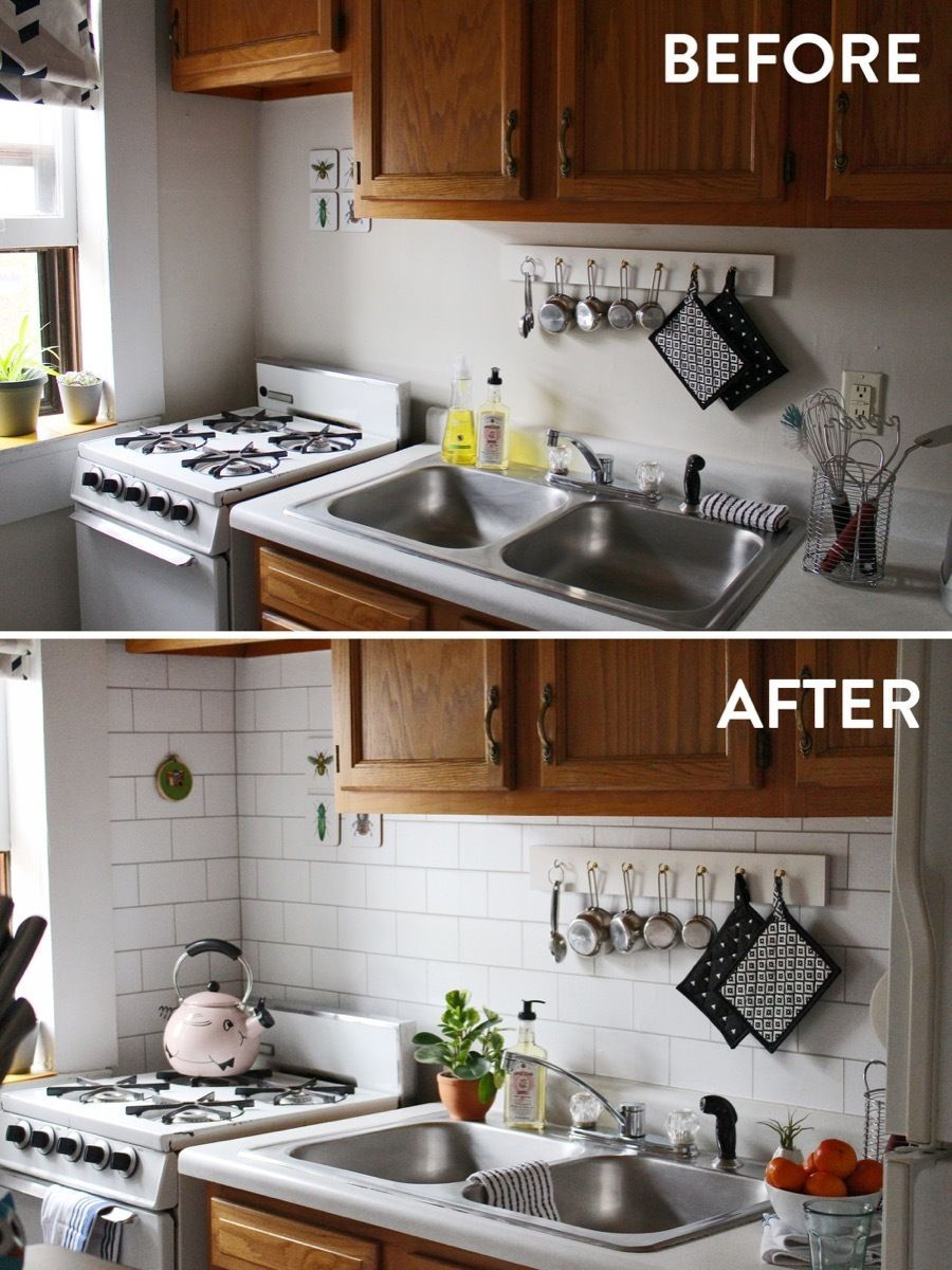 Before And After Using Vinyl Wallpaper To Create A Kitchen Backsplash Kitchen Decor Apartment Apartment Decorating Rental Rental Kitchen