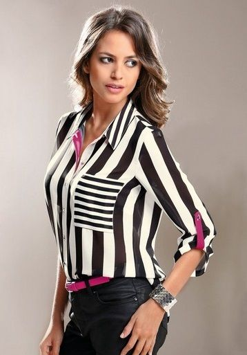 Siyah Beyaz Cizgili Defacto Bayan Gomlek Modeli Moda Stilleri Ust Tasarimci Giyim