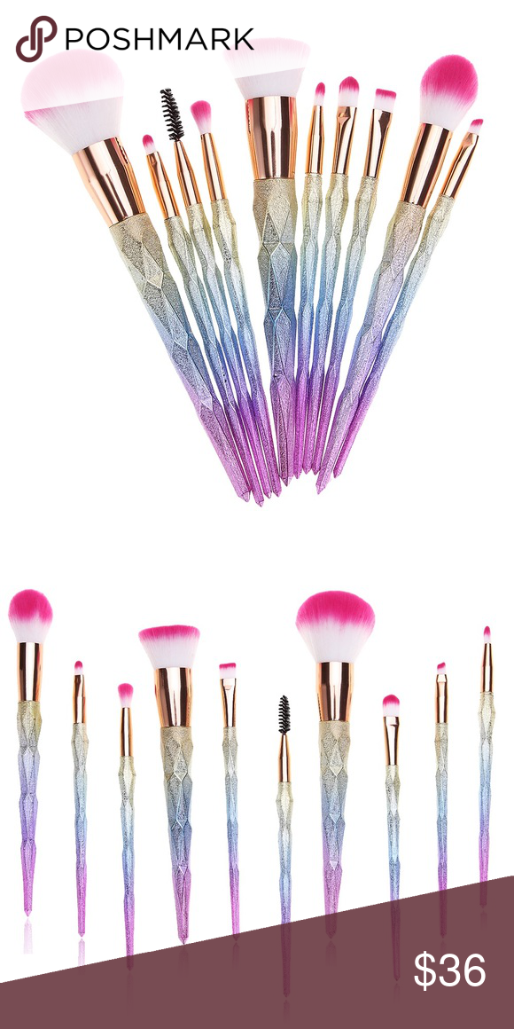 Rose Gold Rainbow Ombré Unicorn Makeup Brush Set 10Brush