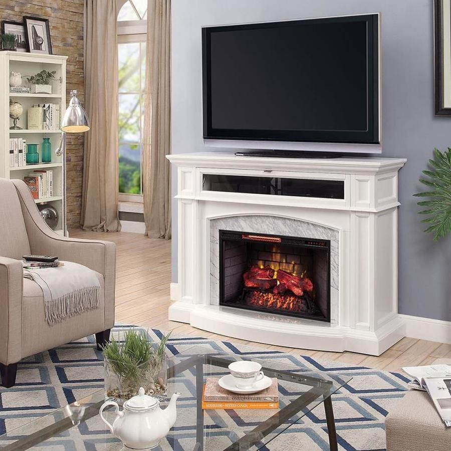 Scott Living 55 5 In W White Infrared Quartz Electric Fireplace