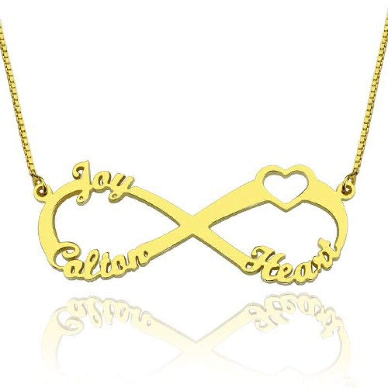 Heart infinity necklace 3 names 18ct gold plated pinterest this infinity necklace look its simple but it has a lot of meaning about friendship love aloadofball Gallery