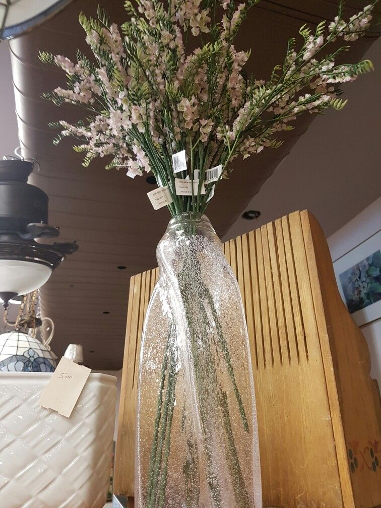 Baby Pink glass vase and decorative flowers at a great price! #collingwood # homedecor