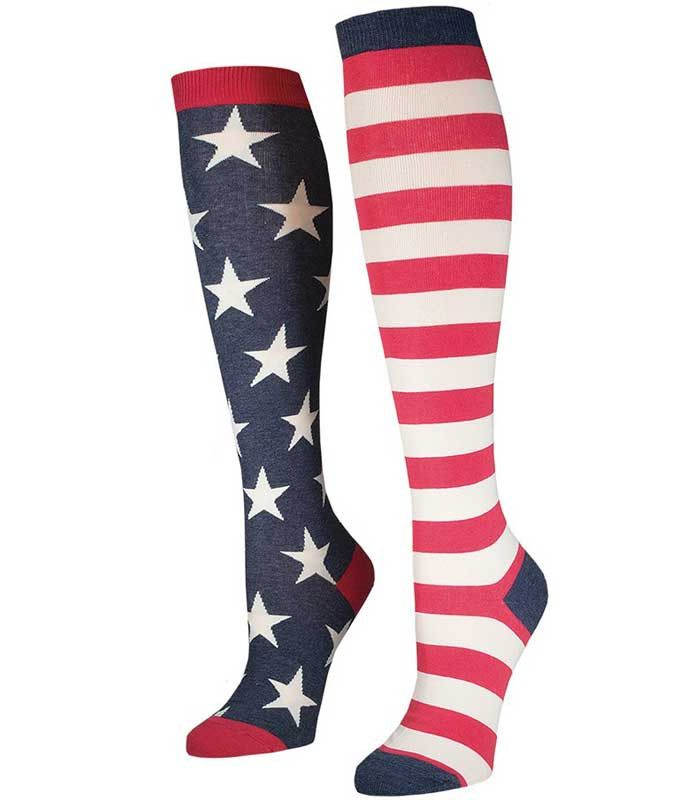 321925c0af4 Show your patriotic side with these USA Knee High Socks! Made with a unique  and comfortable blend of cotton