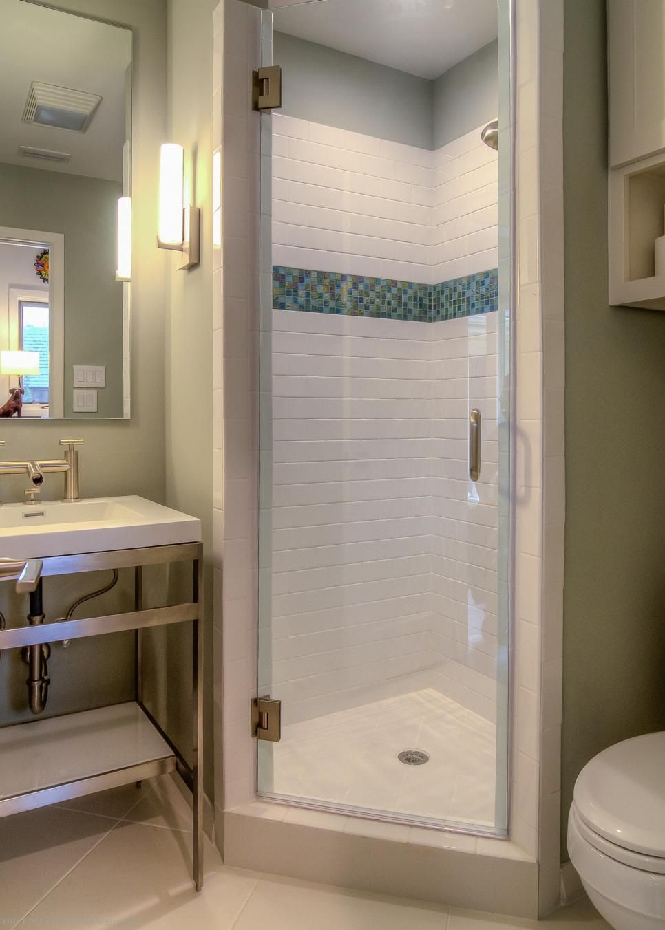 Corner Shower Without Full Glass Surrounds Small Bathroom Remodel Small Bathroom Makeover Small Bathroom Inspiration
