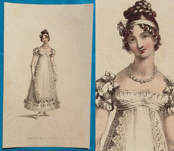 Antique 1817 Regency Fashion Print Ball Dress Gown