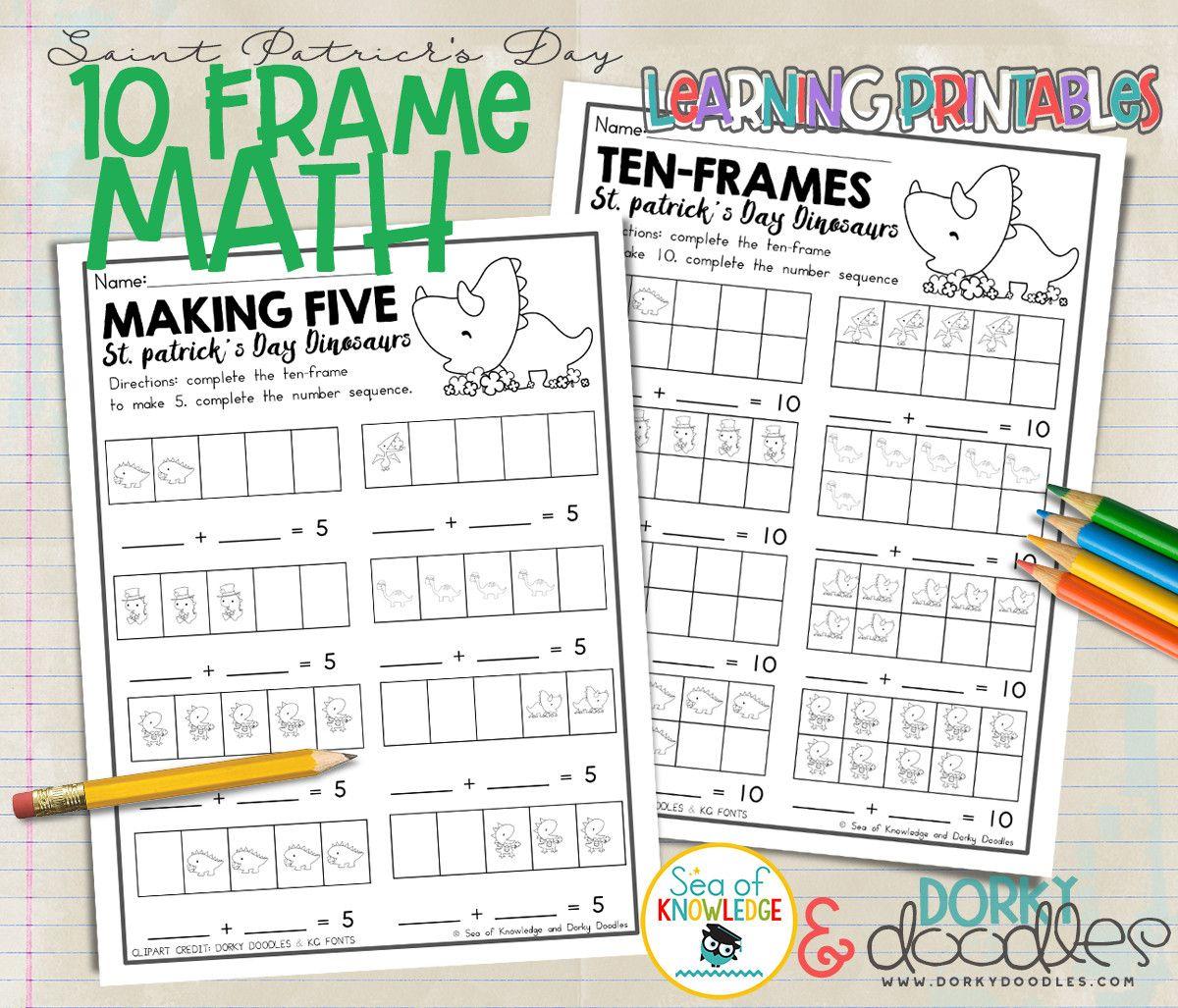 St Patricks Day Ten Frame Math Printables Dinosaur Math