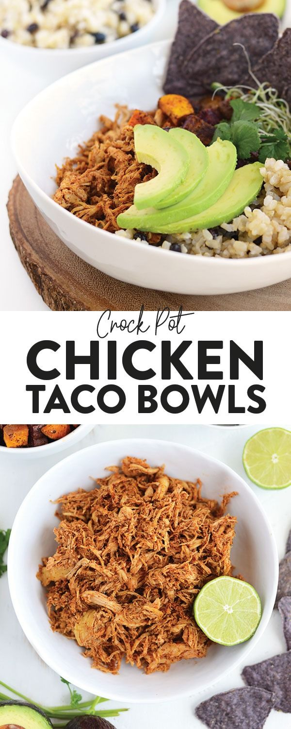 Crockpot Chicken Taco Bowls - Fit Foodie Finds