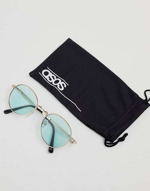 1b5043f05a ASOS DESIGN metal round sunglasses in gold with green lens