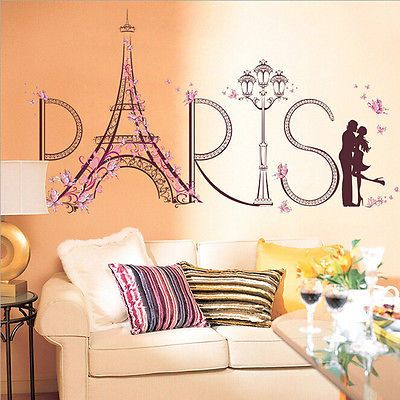 1pc Vinyl Butterfly Fairy Dance Girl Tower Living Room Bedroom Wall Decorations