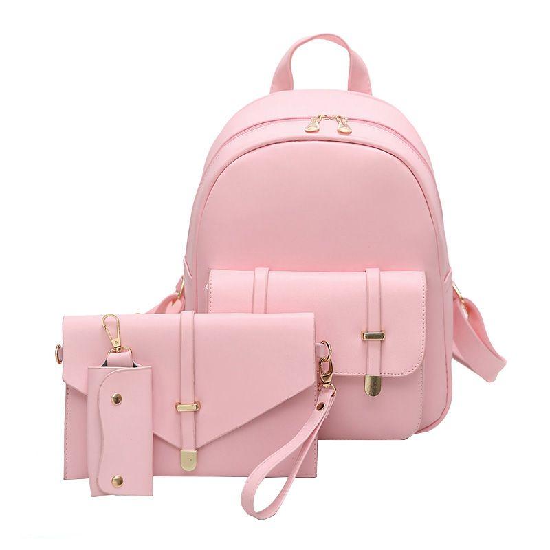 d4976e110ab2 3pcs Women PU Leather Backpack Cute 3 Sets Bag School Bags for ...