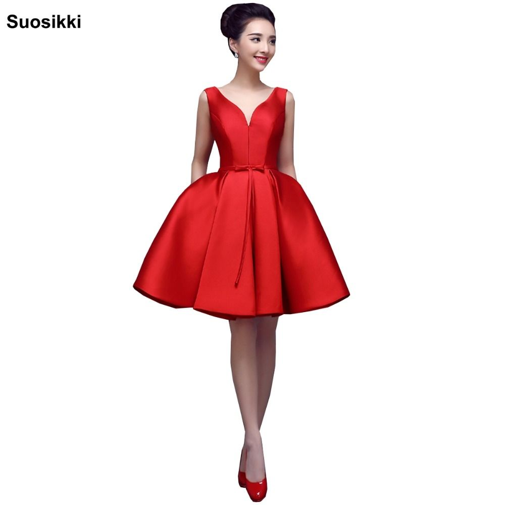 3d66a19f85e Suosikki short evening dress 2017 V-opening Back Lace-up Dresses Formal  Party Dress