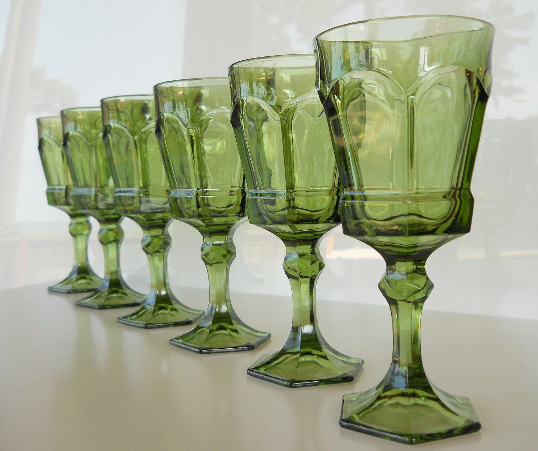 Vintage green glass stemware