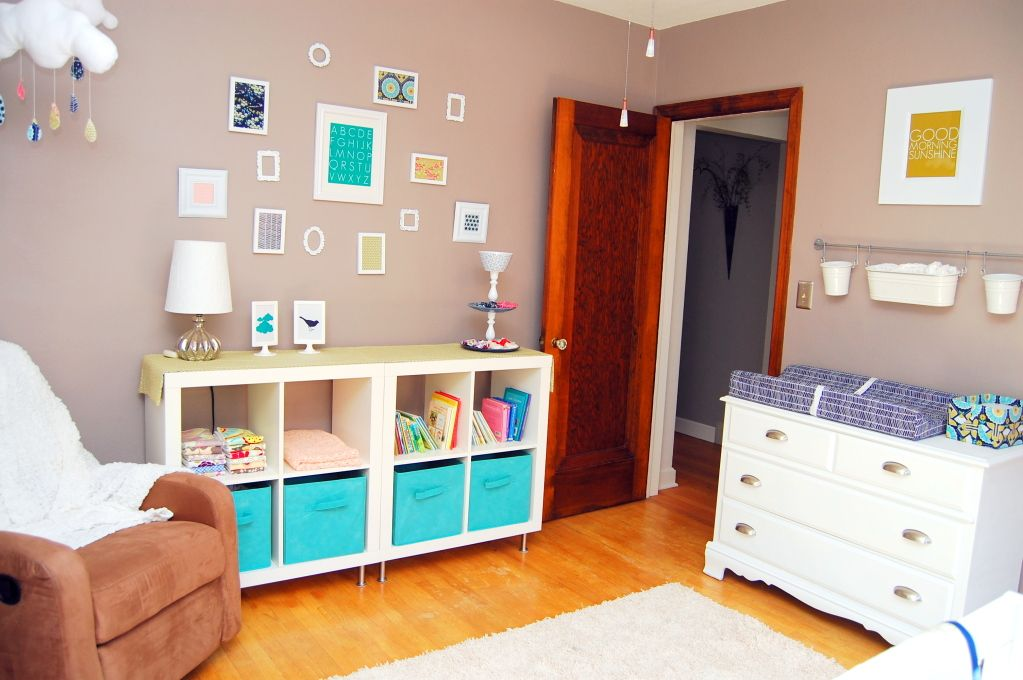 Tan, white, and turquoise. DIY nursery ideas with tutorials.