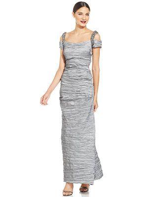 f4db63736f4 Alex Evenings Cold-Shoulder Embellished Crinkle Gown Macys