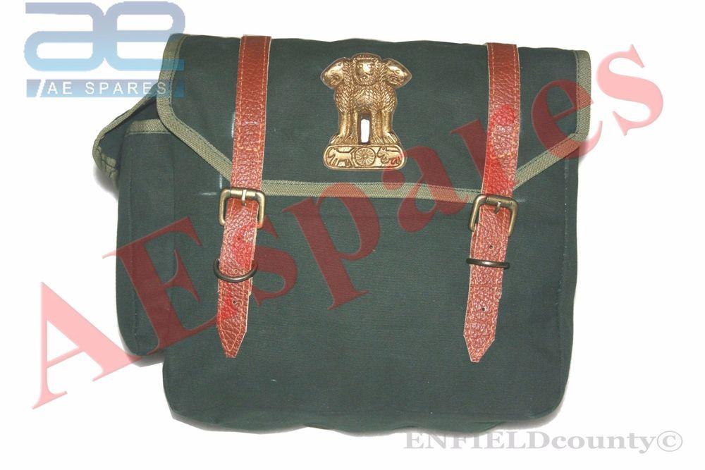 Military green single pocket side saddle bag with indian