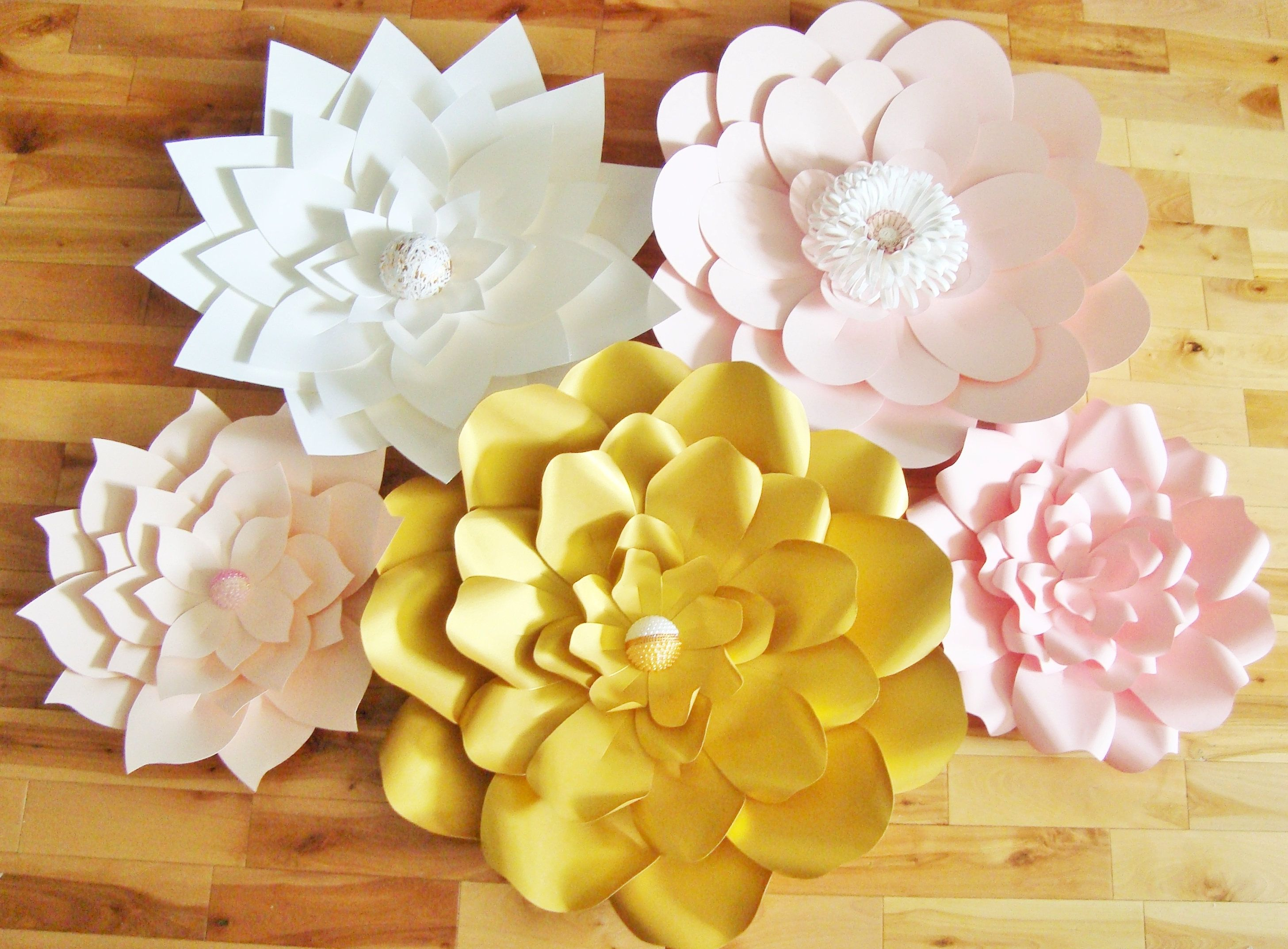 Set of 5 Large Paper Flowers - Paper Flower Wall | Paper Flower ...