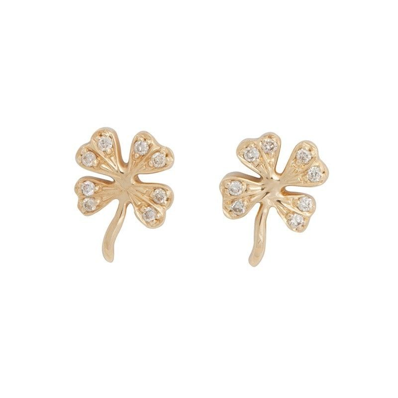 Sydney Evan Diamond And Gold Lucky Clover Studs Benna Co Uk