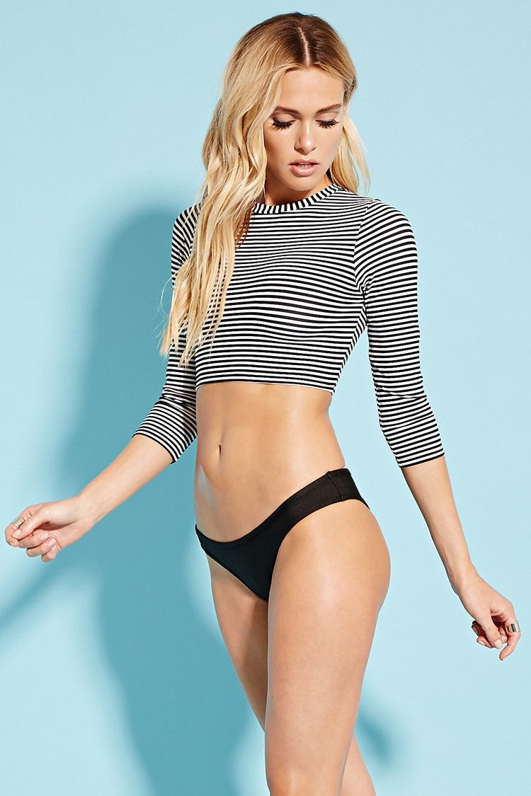 4fbe54bf40c Stripe Cropped Rash Guard | Forever 21 - 2000220694 | swimsuit in ...