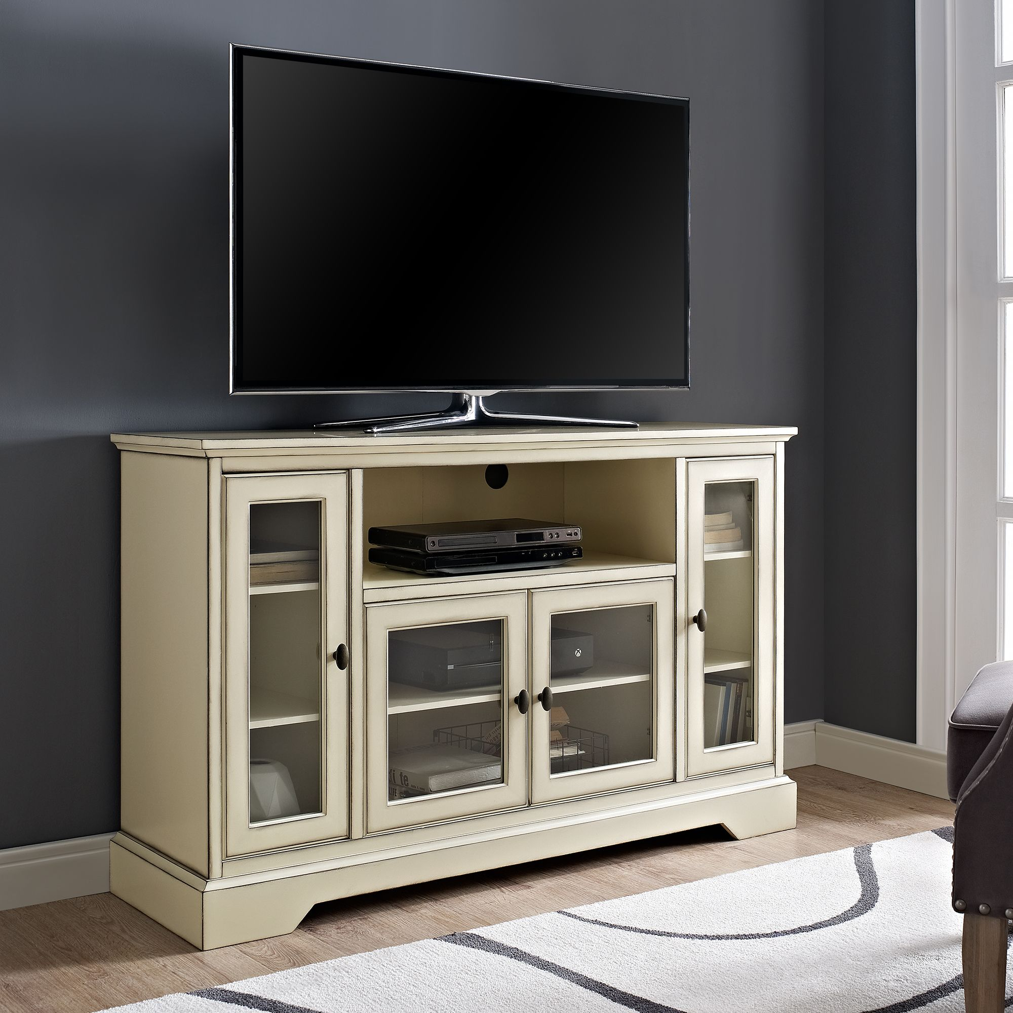 Manor Park Transitional Highboy Glass Door Antique Wood Tv Stand Antique White Walmart Com In 2021 Tv Stand Wood Tall Tv Stands Bedroom Tv Stand Tall wood tv stand