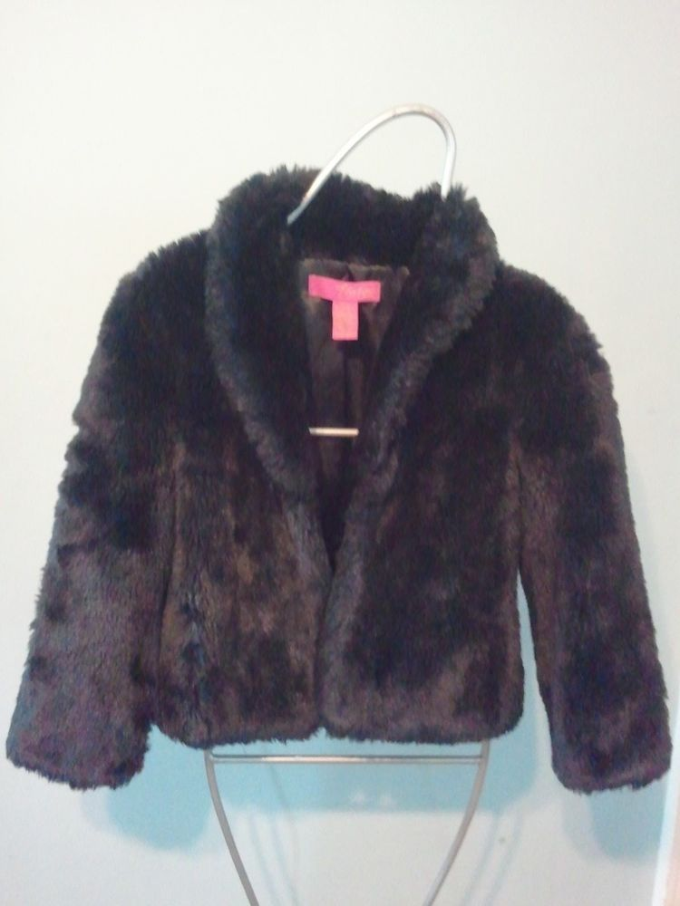 THALIA SODI BLACK FAUX FUR COAT JACKET GIRLS 1012 GLAM