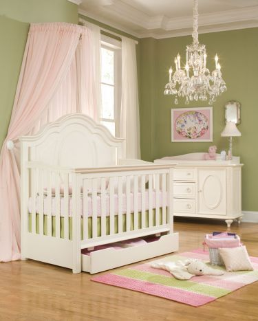 Convertible Crib In Antique Off White Elegant Amp Chic Baby Room With Chandelier Pink Amp Green