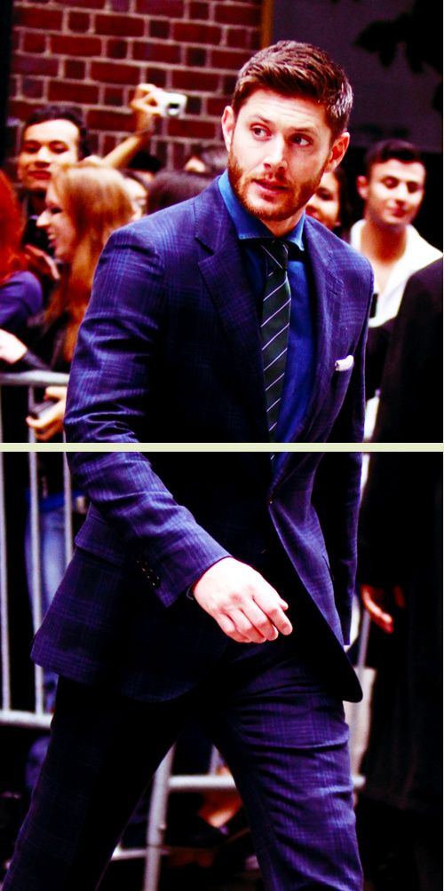 Jensen walking from his hotel to the CW Upfronts, May, 2014