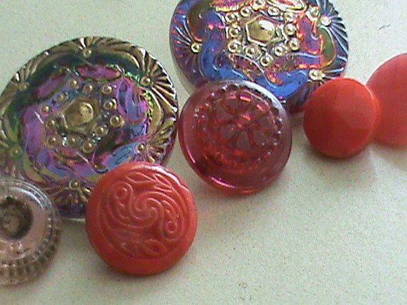 Vintage Buttons  Czech Glass beautiful red and by pillowtalkswf, $8.75