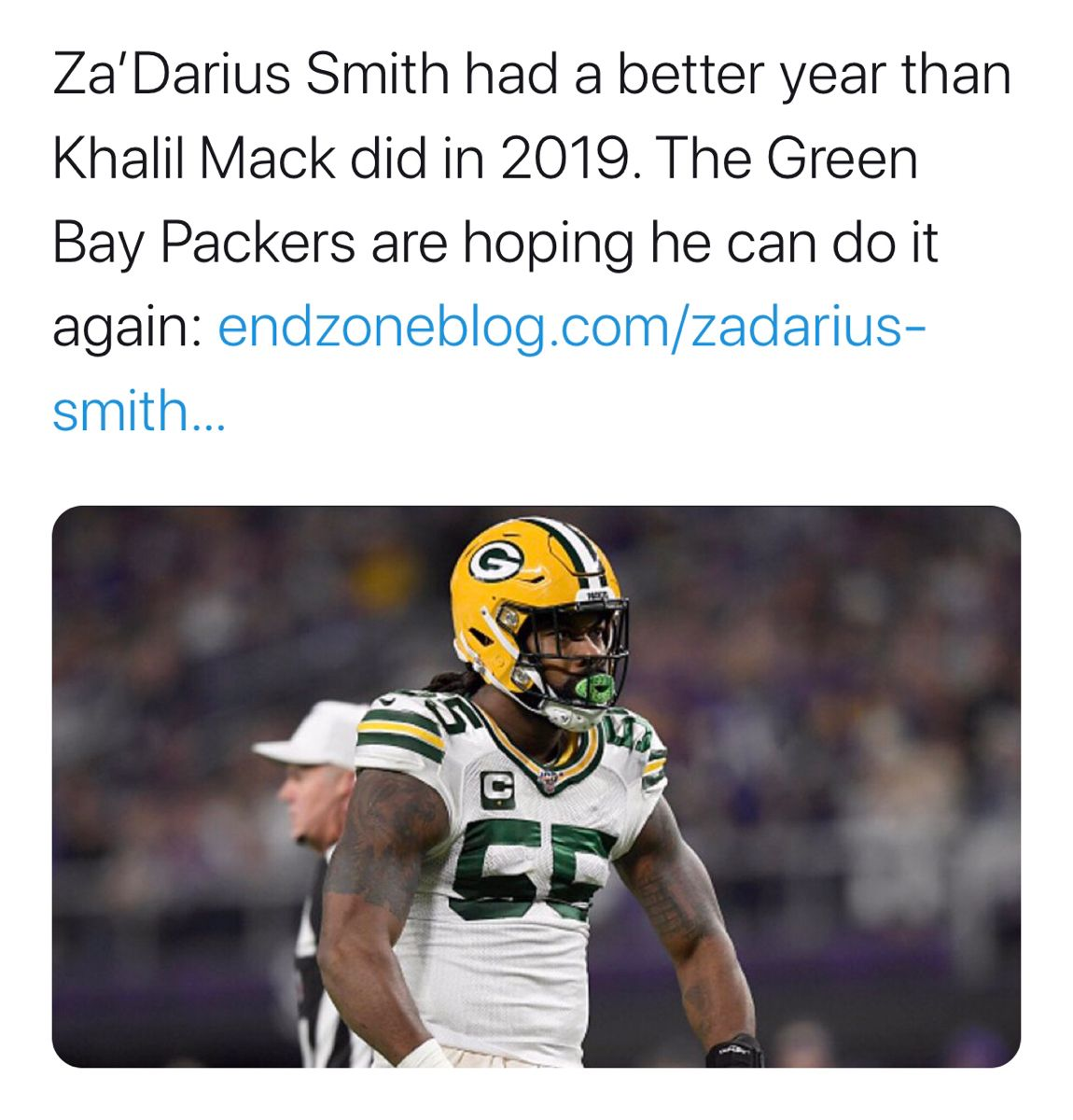 Za Darius Smith Had A Better Year Than Khalil Mack Did In 2019 In 2020 Football Streaming Live Football Streaming Semi Pro Football