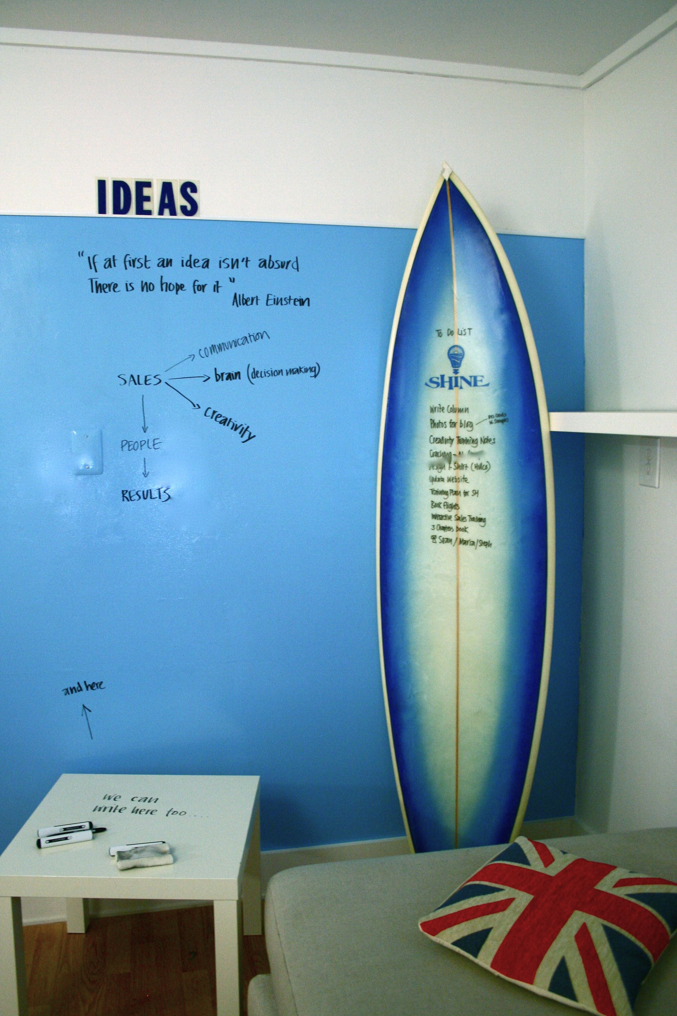 Colored Wall With Clear Dry Erase Paint So You Can Write On The