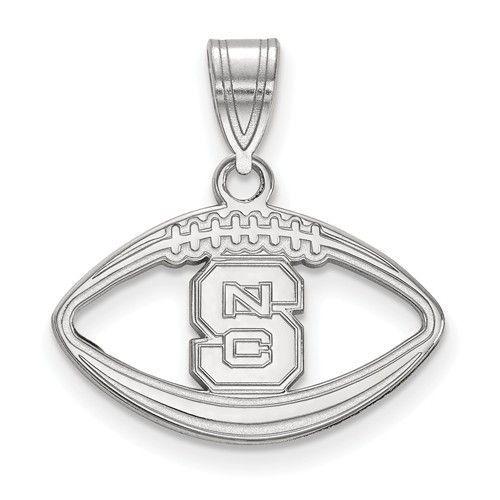 Sterling Silver LogoArt North Carolina State University Pendant in Football SS018NCS