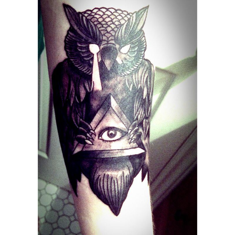 Owl tattoo with all seeing eye