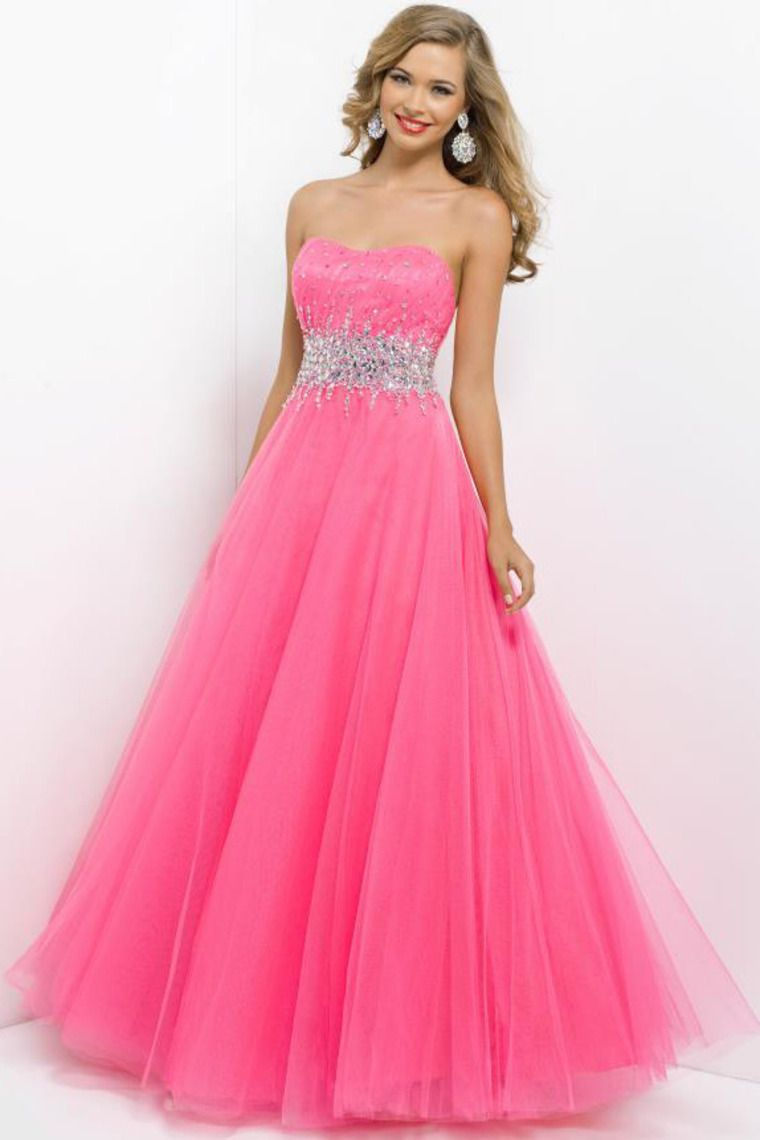 Brightly colored prom dress scalloped neckline pincess floor length