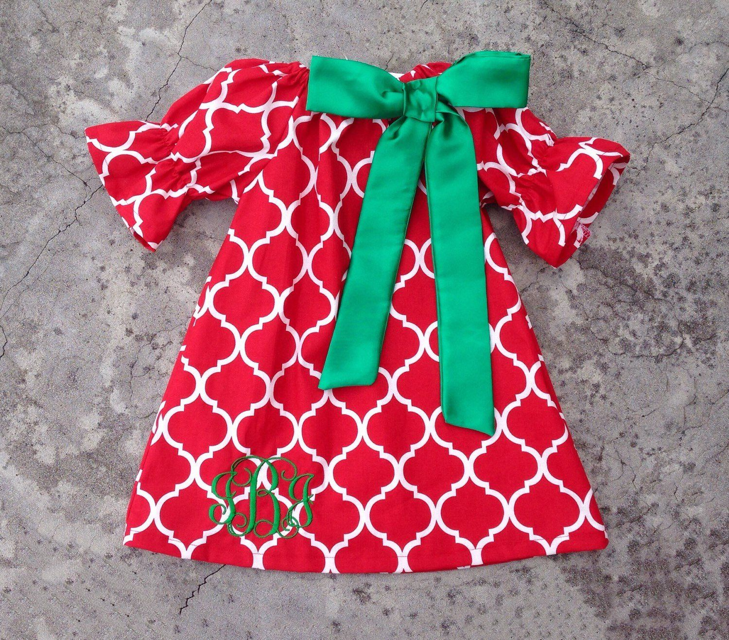 Monogrammed Baby girl christmas outfit red and green