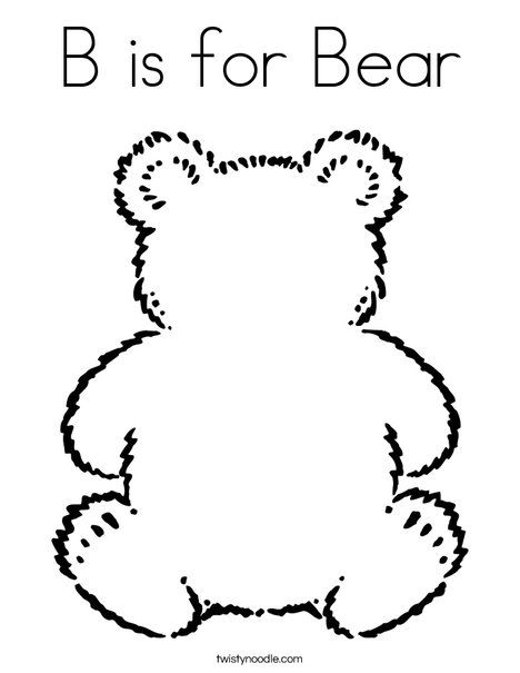 B Is For Bear Coloring Page Twisty Noodle Bear Coloring Pages