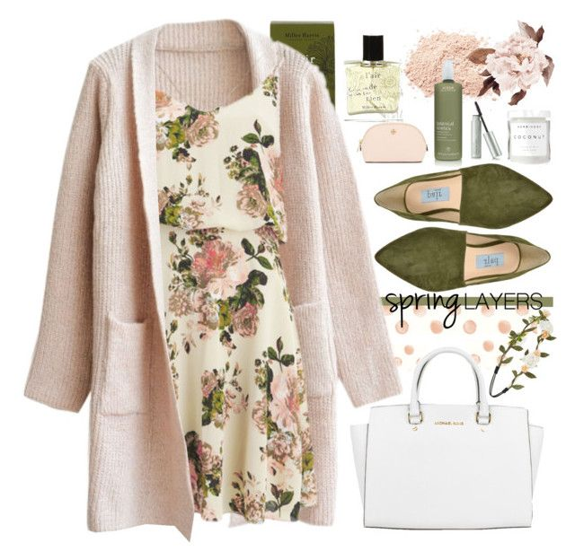 """Cute Spring Trend."" by dazedandconfused ❤ liked on Polyvore featuring Miller Harris, WithChic, VILA, Apair, Michael Kors, Aveda, Forever 21, Tory Burch, Herbivore Botanicals and cutecardigan"