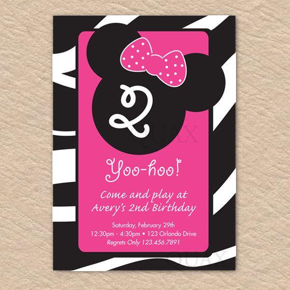 Zebra Minnie Inspired Birthday Invite  PRINTABLE  by Quax on Etsy, $12.00