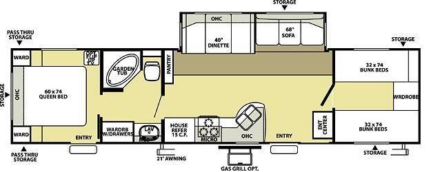 Wildwood le 36bhss bunkhouse travel trailer a garden tub for Small bunkhouse floor plans