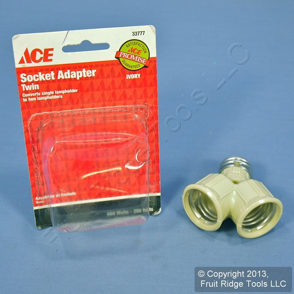 Ace Ivory Twin Light Bulb Socket Lampholder Y-Adapter 33777