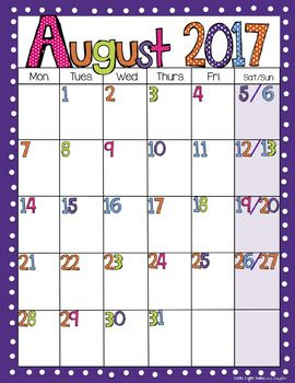 photograph relating to Preschool Calendar Printable named Editable Cost-free Brilliant Polka Dot Every month Calendars 2019-2020