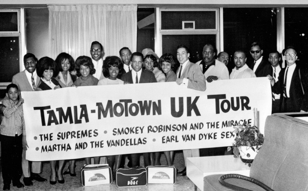 Motown announcing their 1965 UK tour. Featured here are Diana Ross and The Supremes, Martha Reeves and The Vandellas, Smokey Robinson and The Miracles and the Earl Van Dyke Sextet.