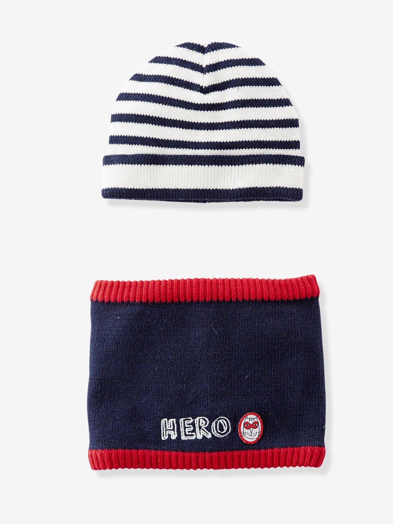 d58c517665f5 Ensemble bonnet + snood bébé garçon en tricot uni-rayé marine foncé - Un duo