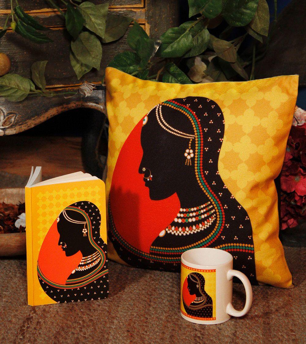 Rajput queen set of notebook mug u cushion coverudletternote