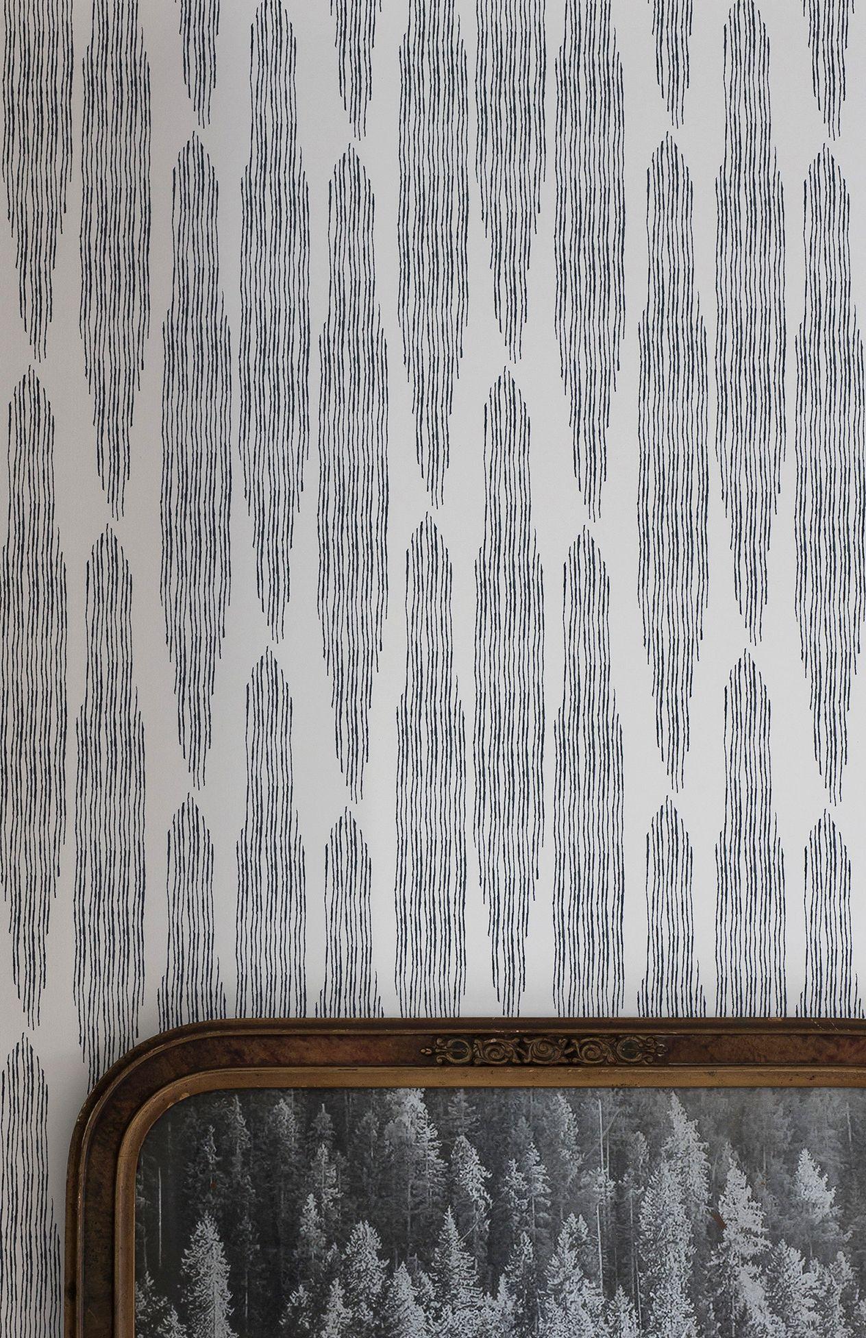 PINES wallpaper midnight Living room decor, Silver