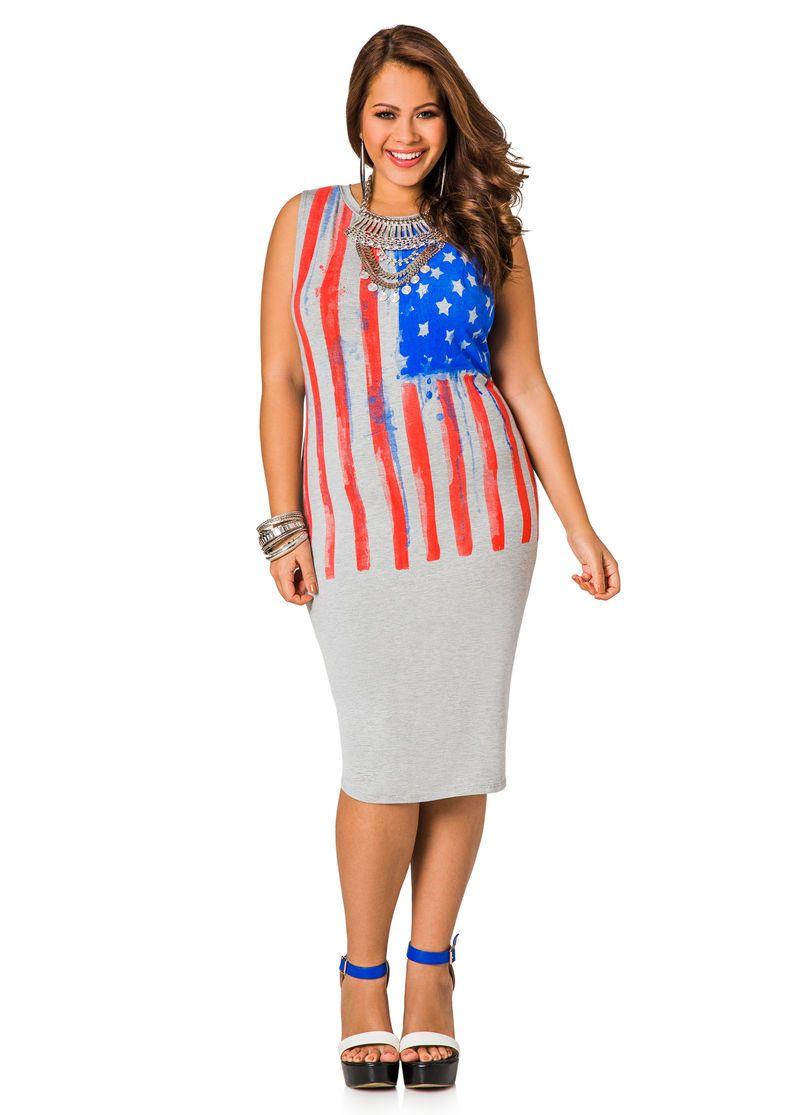 a9f5aacc82 American T-Shirt Dress - Ashley Stewart